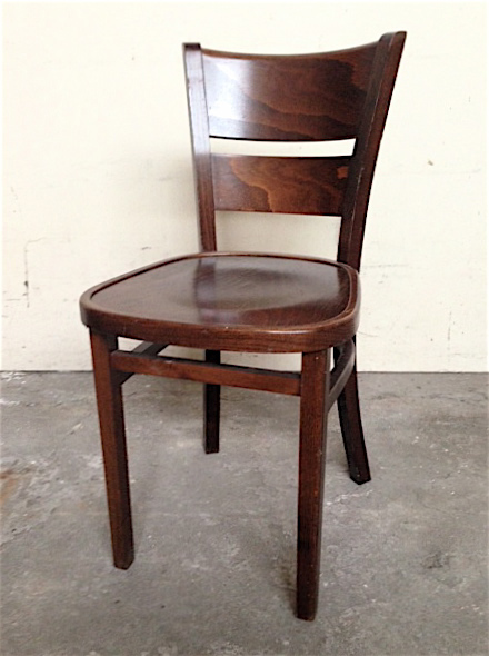 CHA0302 CHAIR, Cafe - Straight Back 1940s Stained Timber $23.75