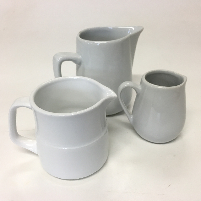 JUG0015 JUG, Milk Jug - White Ceramic Small Assorted $2.50