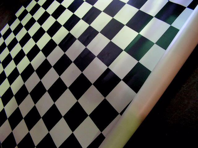 LIN0002 & LIN0003 LINO, Black & White Check 3m x 3m AND 3m x 2.3m $37.50