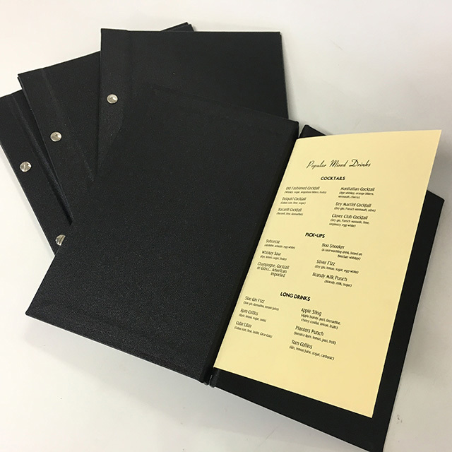 MEN0002 MENU, Black A5 Hardcover $3.75