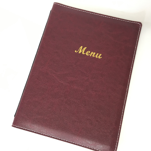 MEN0007 MENU, Burgundy Vinyl  A4 $3.75