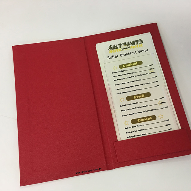MEN0011 MENU, Red Slimline Hardcover $3.75
