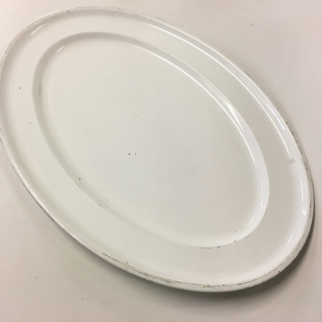 PLA0085 PLATTER, White Metal - Large Oval $5