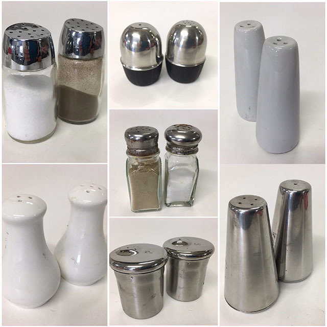 SAL0103 SALT & PEPPER SHAKER, Contemporary Cafe Style - Assorted Pairs $1.25