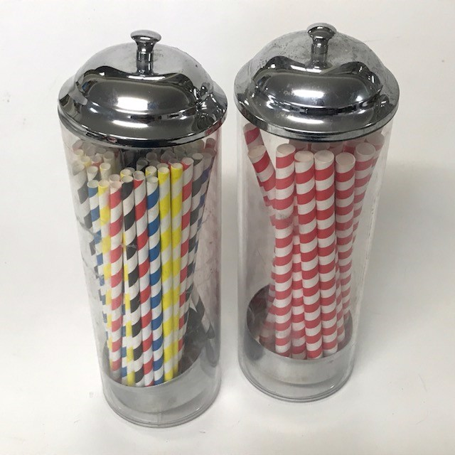 STR0201 STRAW DISPENSER, Classic Glass & Stainless Steel Top $7.50