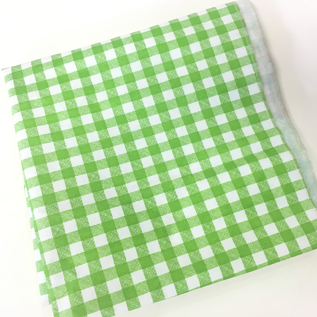 TAB0125 TABLECLOTH, Green White Check - Plastic 1.35m x 1.35m $3.75