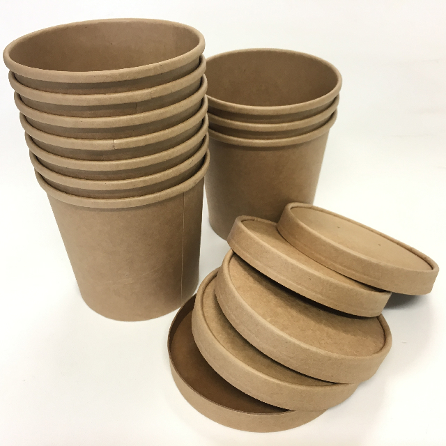 TAK0003 TAKEAWAY CONTAINER, Brown Cardboard Tub w Lid $1