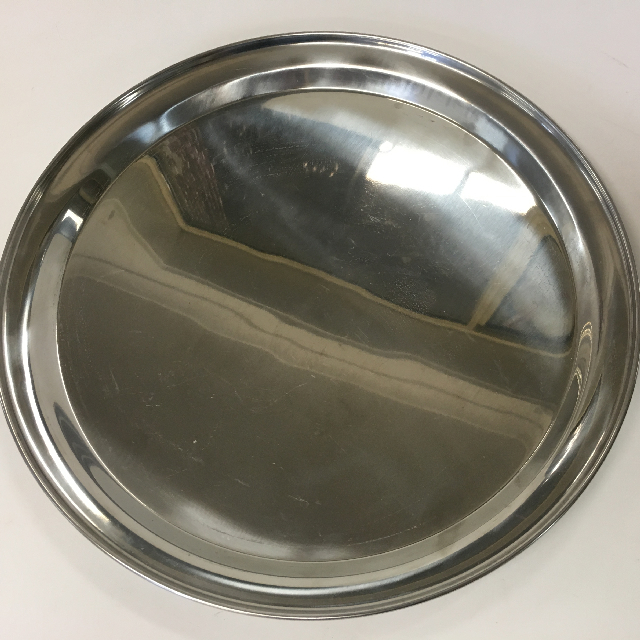 TRA0036 TRAY, Round Stainless Steel Cafe Bar Style - Large $7.50