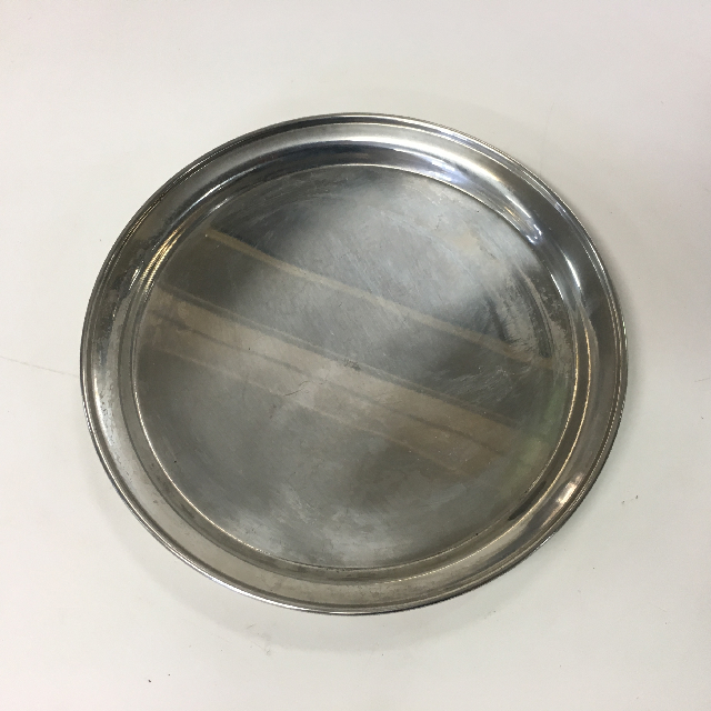 TRA0038 TRAY, Round Stainless Steel Cafe Bar Style - Small $5