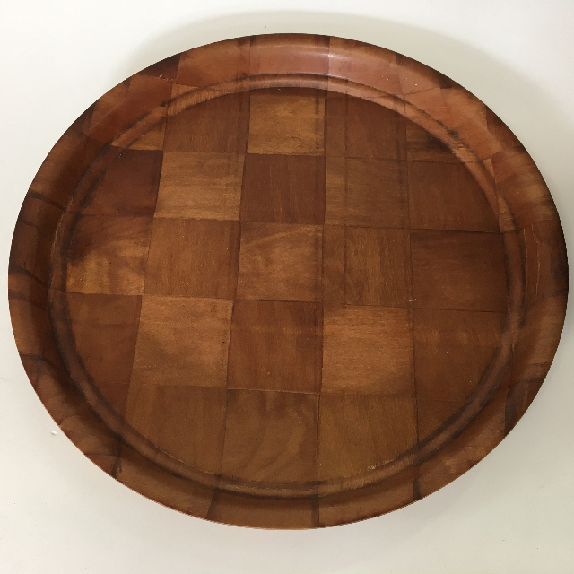 TRA0029 TRAY, Timber Check Veneer Cafe Canteen Style - Round $5