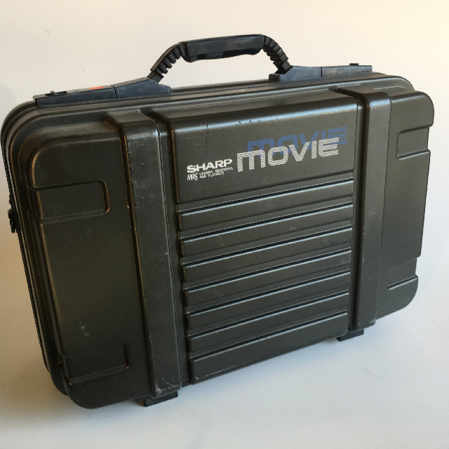 VID0053 VIDEO CAMERA, Black Sharp Movie Camera in Black Hard Case $30 (Case Closed)