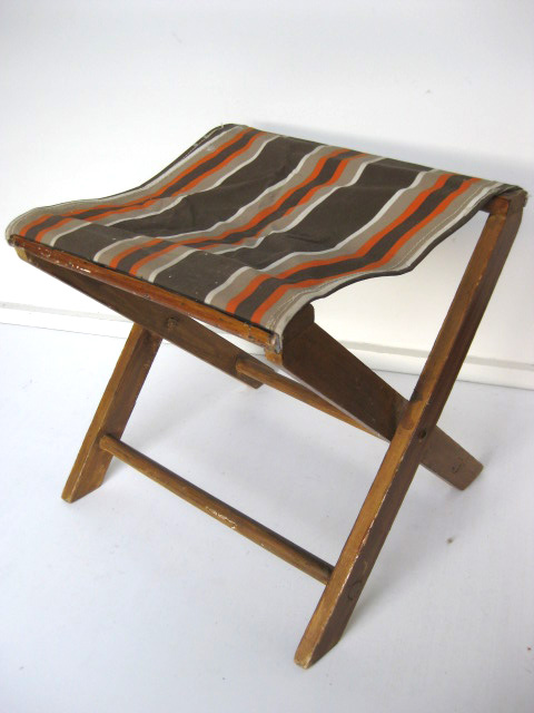 STO0207 STOOL, Camp - Timber Folding Brown & Orange $12.50