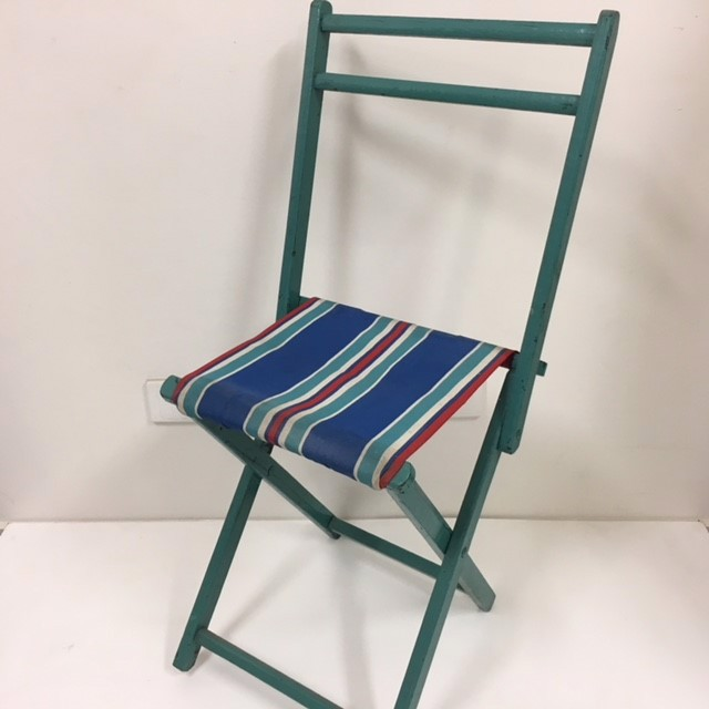 STO0214 STOOL, Camp - Timber Folding (with Back) Aqua Frame, Blue Red White Stripe Vintage Canvas $18.75