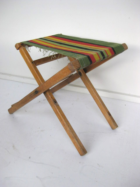 STO0211 STOOL, Camp - Timber Folding, Green Red Yellow Vintage $12.50