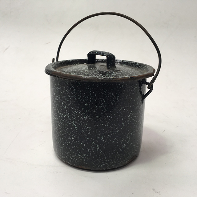 ENA0011 ENAMELWARE, Pot With Lid - Black Speck $3.75