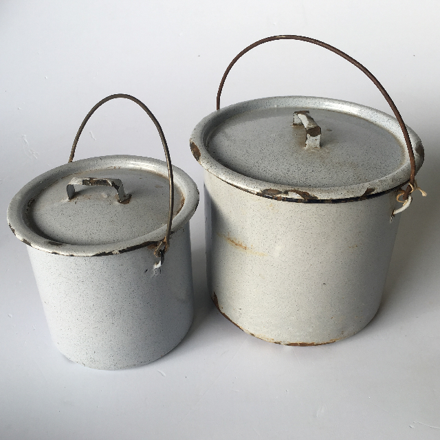 ENA0012 ENAMELWARE, Pot With Lid - Grey Speck $3.75