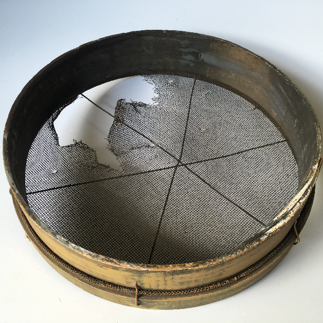 SIE0051 SIEVE, Gold Panning - Wooden Rim and Broken Mesh (50cm D) $18.75