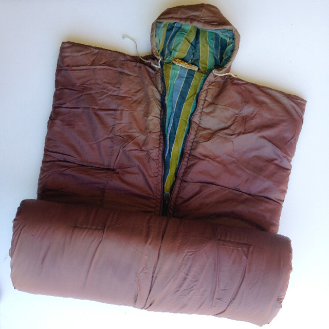 SLE0005 SLEEPING BAG, Retro Brown w Stripe Lining and Hood $11.25
