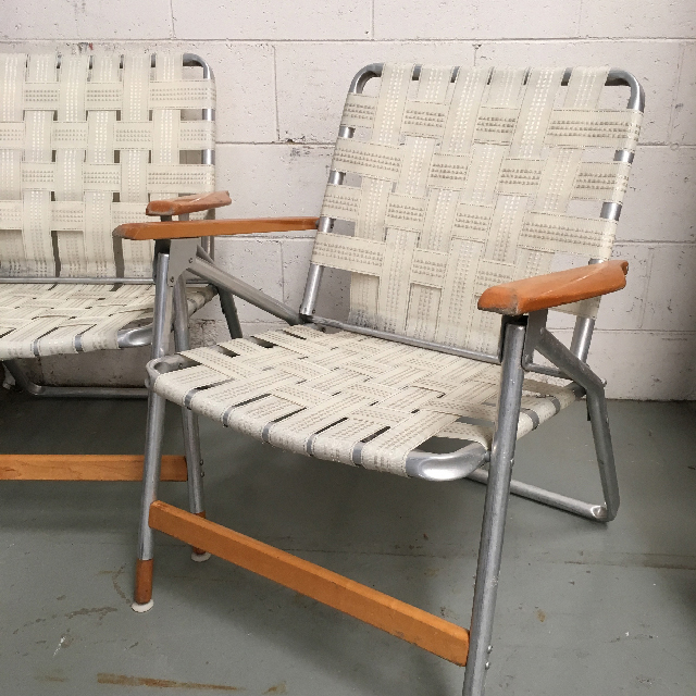 CHA0523 CHAIR, Folding Vintage Lawn Chair - Cream Webbing  $15
