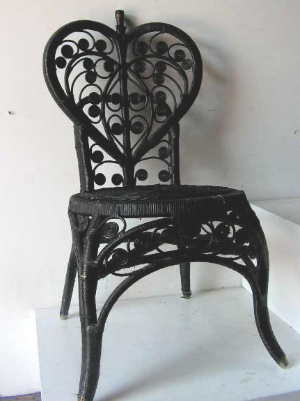 CHA0208 CHAIR, Peacock chair - Painted Black $25