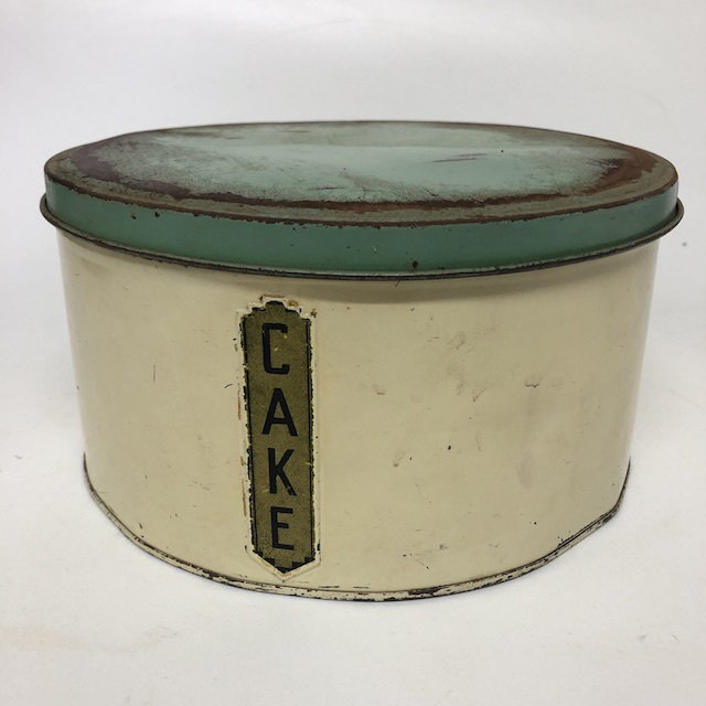 CAK0054 CAKE TIN, Vintage Cream w Green Lid and Label $10
