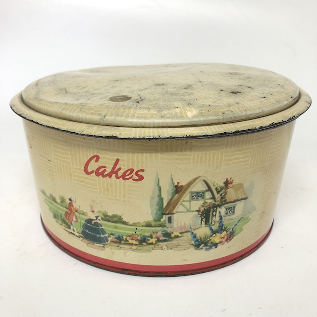 CAK0055 CAKE TIN, Vintage Cream w Thatched Cottage Print $10