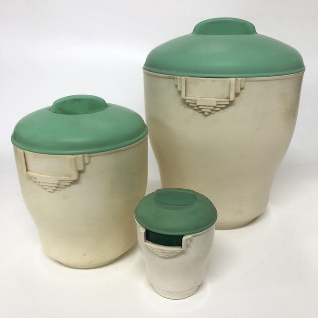 CAN0154 CANNISTER SET, 1940's Cream Green Bakelite Storage (Set of 3) $22.50