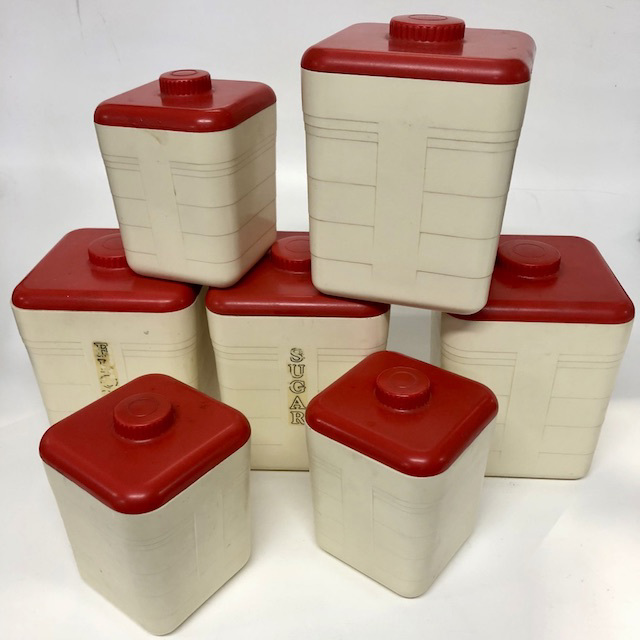 CAN0155 CANNISTER SET, 1950's Cream Bakelite w Red Lid (Set of 7) $30