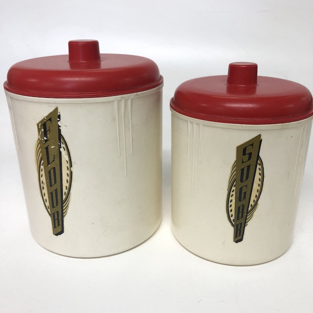 CAN0156 CANNISTER SET, 1950's Cream Bakelite w Red Lid and Gold Label (Set of 2) $20