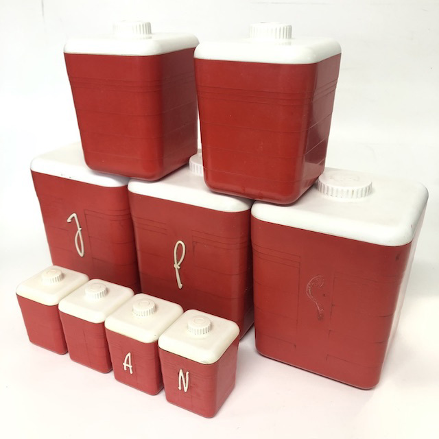 CAN0160 CANNISTER SET, 1950's Red w White Lid (Set of 9) $30