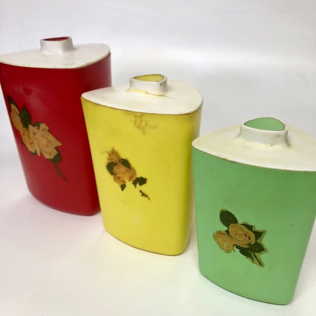 CAN0161 CANNISTER SET, 1950's Triangular Red Yellow Green (Set of 3) $18.75