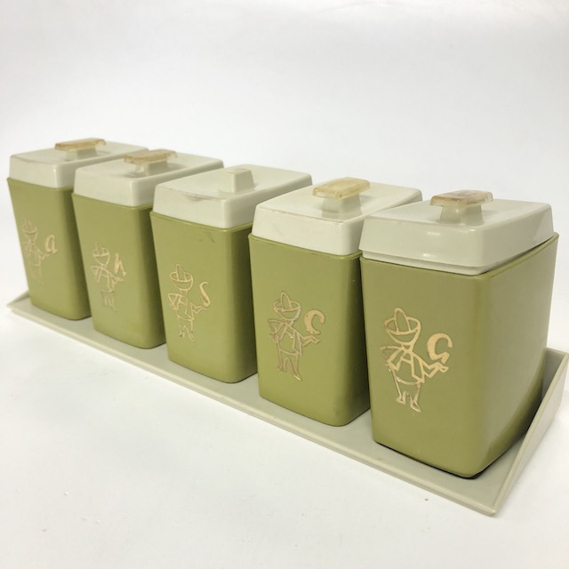 CAN0164 CANNISTER SET, 1960's Olive Green w Tray Base (Set of 5) $18.75