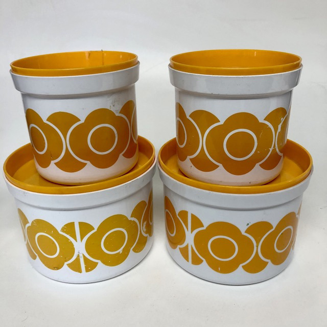 CAN0165 CANNISTER SET, 1960's White w Yellow Flower (Set of 4) $18.75