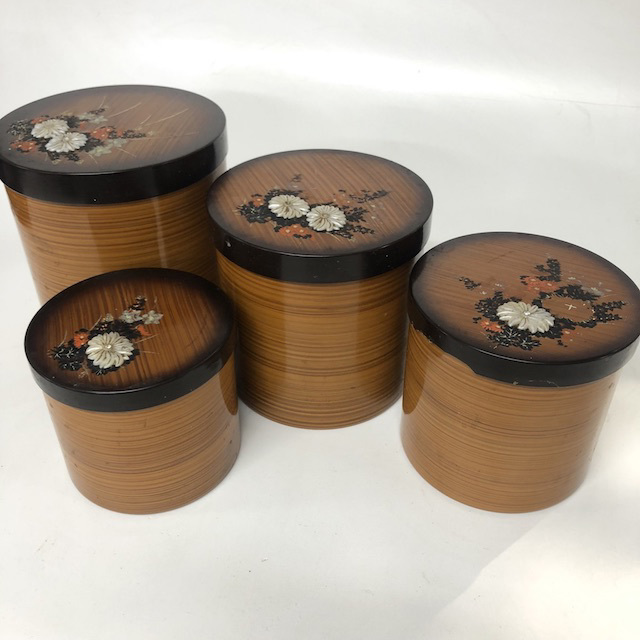 CAN0167 CANNISTER SET, Glossy Woodgrain w Floral Decoupage Lid (Set of 4) $18.75