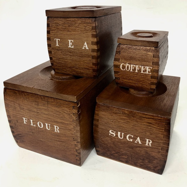 CAN0168 CANNISTER SET, Lacquered Wooden Boxes (Set of 4) $18.75