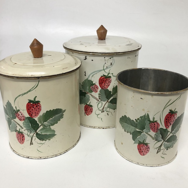 CAN0169 CANNISTER SET, Off White Strawberries (Set of 3 one missing lid) $15