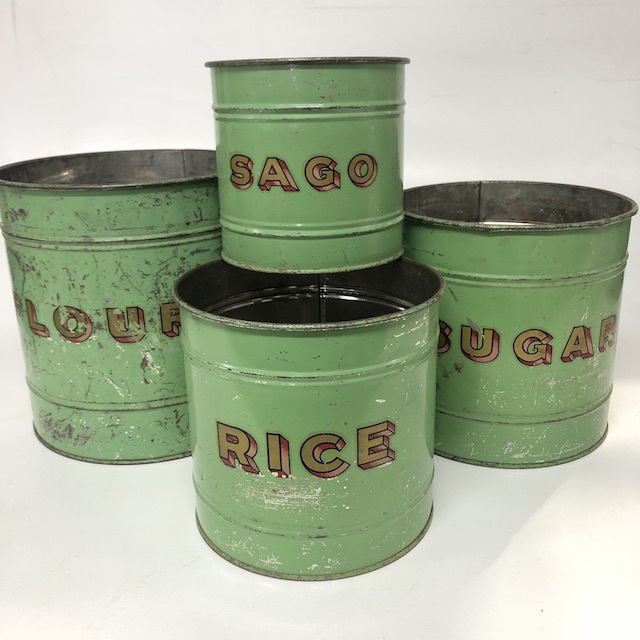 CAN0151 CANNISTER SET, Green Rusted Set of 4 - Stacking 20cm x 20cm $18.75