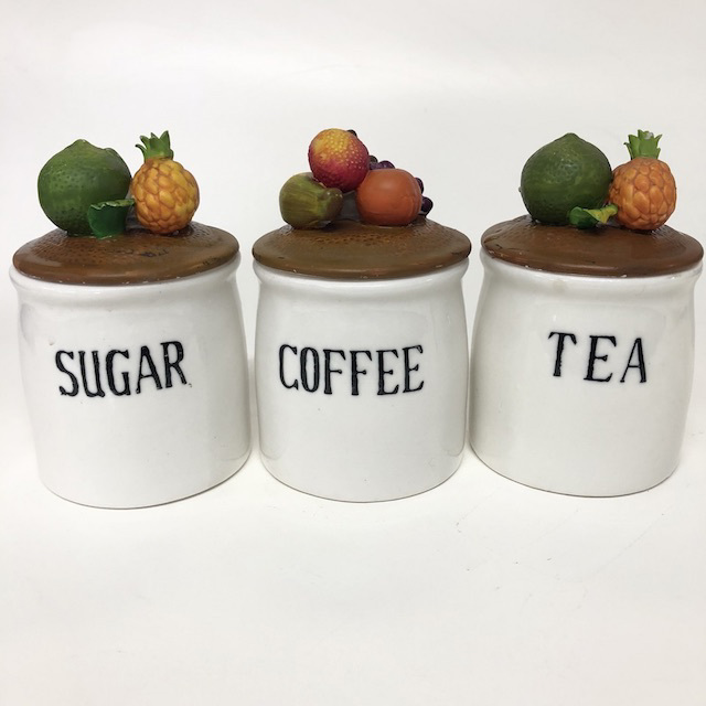 CAN0172 CANNISTER SET, White Ceramic w Fruity Lid (Set of 3) $11.25