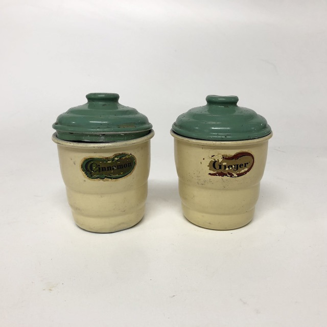 CAN0174 CANNISTER, 1940's Cream Green Bakelite Storage - Ex Small $6.25