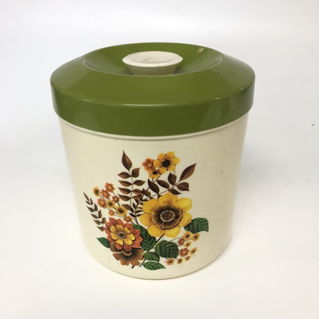 CAN0177 CANNISTER, 1970's Floral Print w Olive Green Lid $5