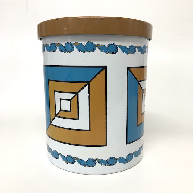CAN0178 CANNISTER, 1970's Geo Design Mustard Turquoise $5
