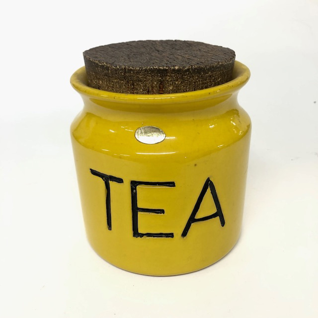 CAN0182 CANNISTER, 1970's Yellow Glazed Storage Jar 'Tea' w Cork Stopper $6.25