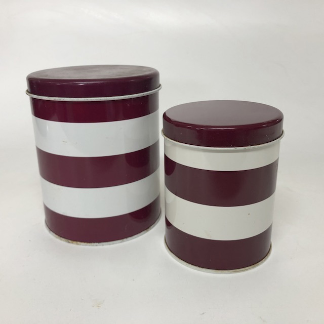 CAN0184 CANNISTER, Burgundy White Stripe Storage Tin $2.50