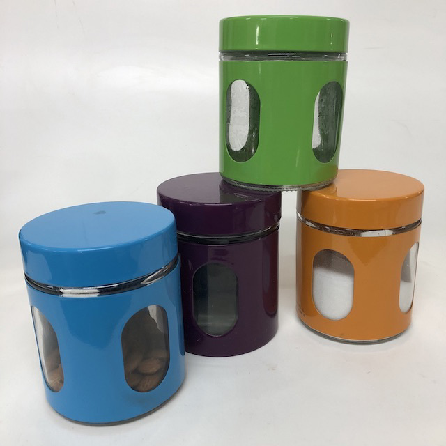 CAN0188 CANNISTER, Coloured Metal Storage Jar $3.75