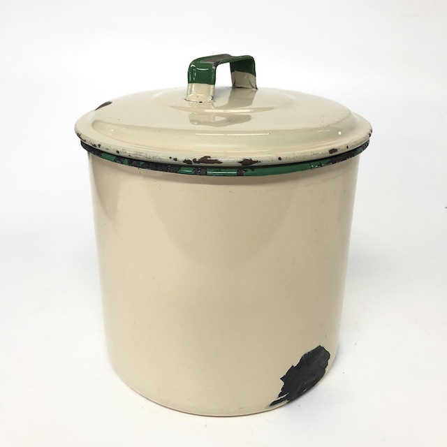 CAN0189 CANNISTER, Cream Enamelware w Green Handle $10
