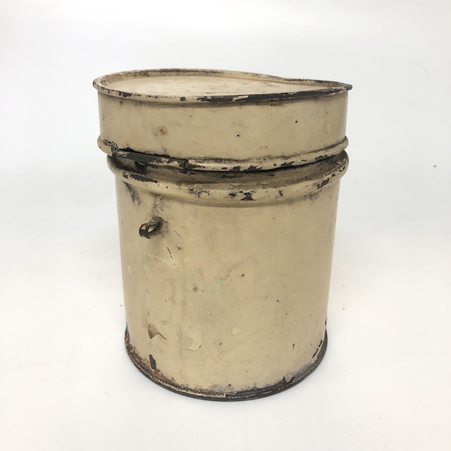 CAN0190 CANNISTER, Cream Metal Caddy - Aged $5