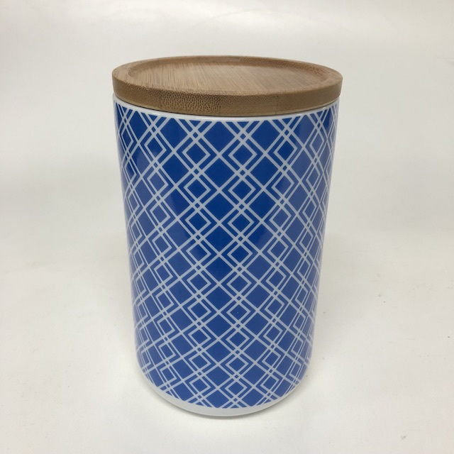 CAN0191 CANNISTER, Geo Pattern w Wooden Lid - Blue $3.75