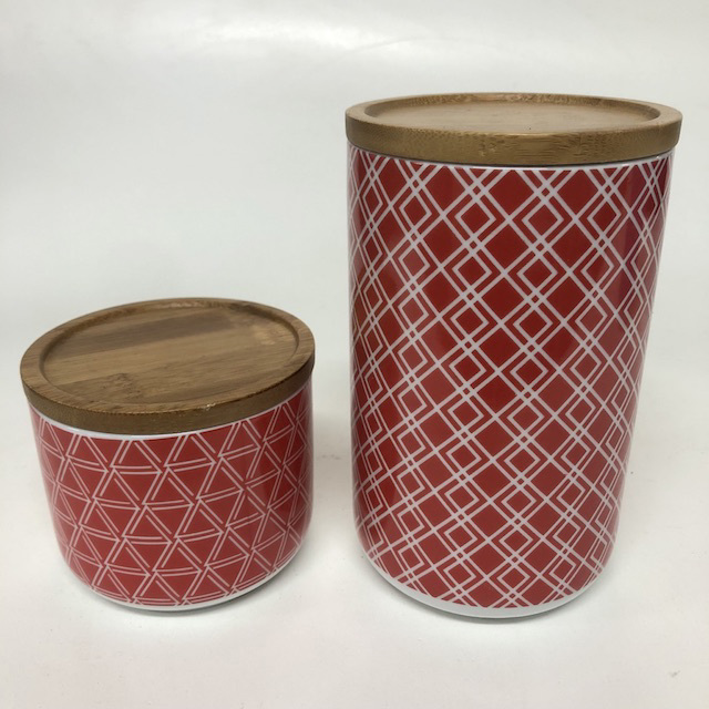 CAN0192 CANNISTER, Geo Pattern w Wooden Lid $3.75