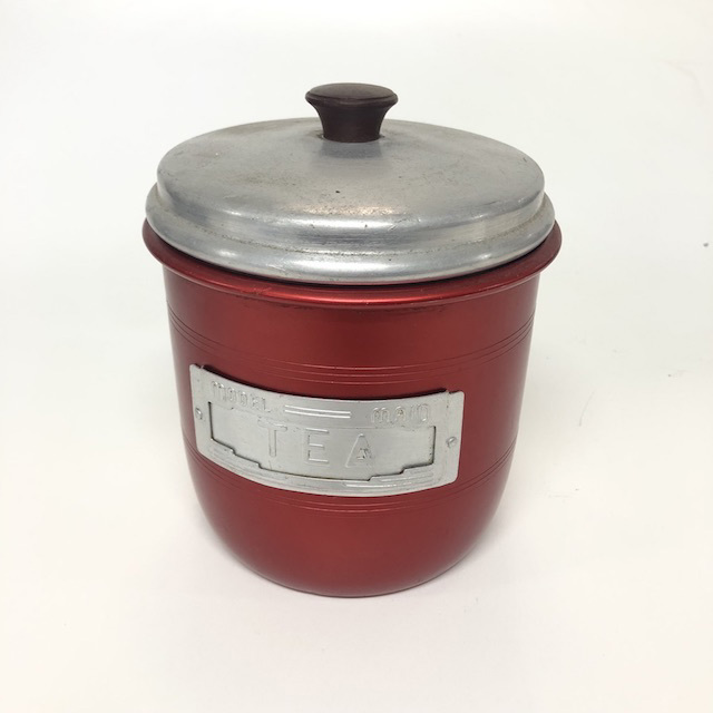 CAN0198 CANNISTER, Red Aluminium 'Tea' Caddy $5