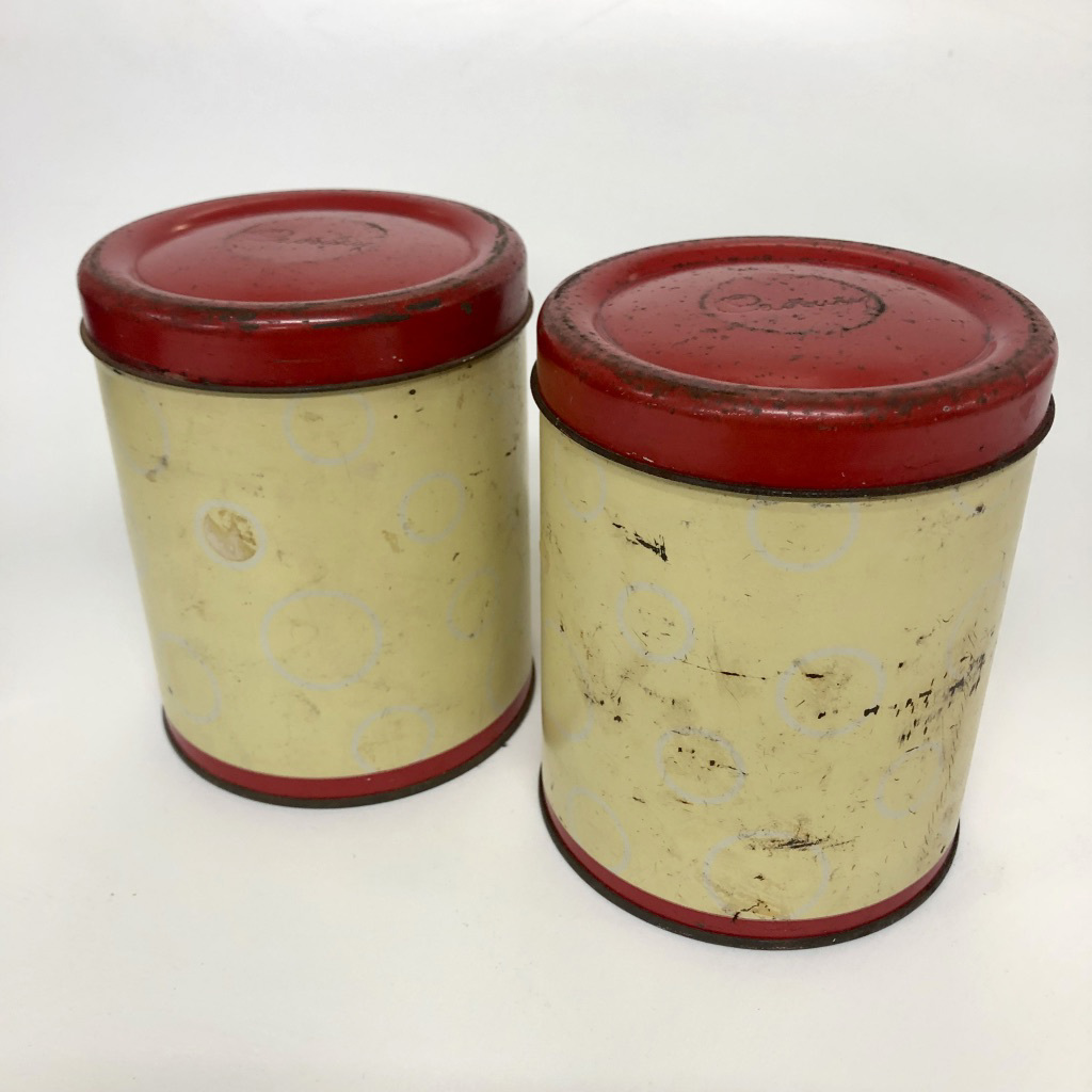 CAN0199 CANNISTER, Red Cream Storage Tin $3.75